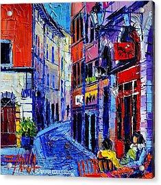 rendez-vous In Vieux Lyon 25x25 Cm Acrylic Print by Mona Edulesco