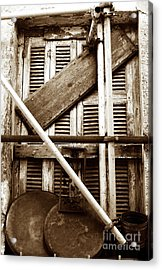 Repair In Athens Acrylic Print by John Rizzuto