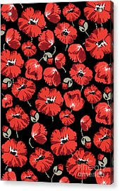 Repeating Pattern Of Poppies Montage On Black Background Acrylic Print