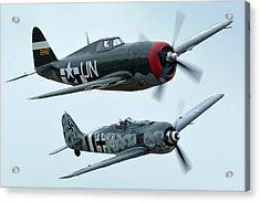 Republic P-47g Thunderbolt Nx3395g Focke Wulf Fw 190a-9 N190rf Chino California April 30 2016 Acrylic Print by Brian Lockett