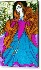 Acrylic Print featuring the drawing Repunzel by Rae Chichilnitsky