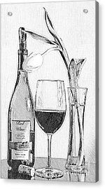 Reserved Table For One In Black And White Acrylic Print