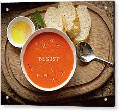 Resistance Alphabet Soup Acrylic Print by Susan Maxwell Schmidt