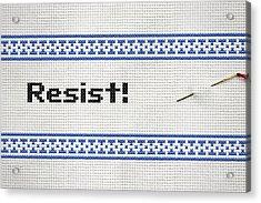 Resistance Cross Stitch Acrylic Print by Susan Maxwell Schmidt