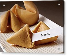 Resistance Fortune Cookie Acrylic Print by Susan Maxwell Schmidt
