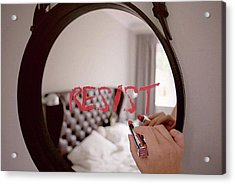 Resistance Lipstick Acrylic Print by Susan Maxwell Schmidt