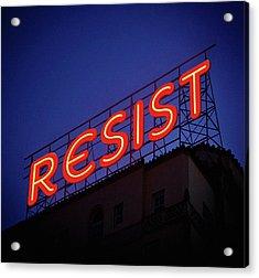 Resistance Neon Lights Acrylic Print by Susan Maxwell Schmidt