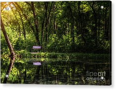 Resting Bench At The Chickasaw National Recreation Area Acrylic Print by Tamyra Ayles
