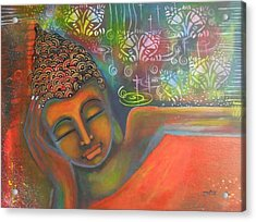Acrylic Print featuring the painting Buddha Resting Against A Colorful Backdrop by Prerna Poojara