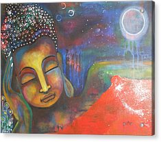 Acrylic Print featuring the painting Buddha Resting Under The Full Moon  by Prerna Poojara