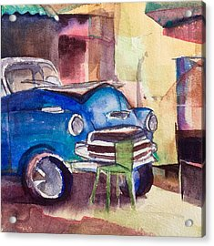 Resting Chevy With Green Chair Acrylic Print by Lynne Bolwell