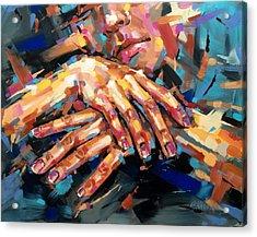 Resting Hands Acrylic Print by Christine Karron
