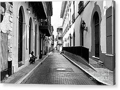 Resting In Casco Viejo Mono Acrylic Print by John Rizzuto