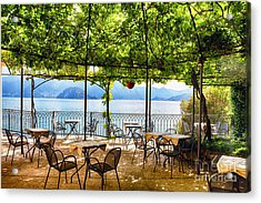 Tables On A Patio Under A Trellis Acrylic Print by George Oze
