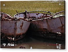 Retired Fishing Boats Acrylic Print by Becky Sundeen