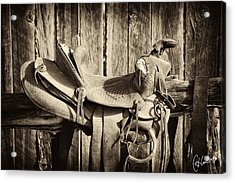 Retired Saddle Acrylic Print by Christine Hauber