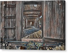 Retired Train Car Jamestown Acrylic Print by Steve Siri
