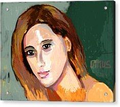 Retrato Patricia Acrylic Print by Carlos Camus