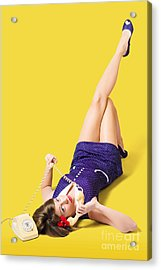 Retro 1950s Pinup Girl Chatting On Telephone Acrylic Print by Jorgo Photography - Wall Art Gallery