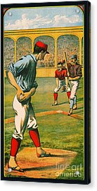 Retro Baseball Game Ad 1885 A Crop Acrylic Print by Padre Art