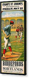 Retro Baseball Game Ad 1885 A Acrylic Print by Padre Art