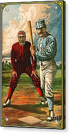 Retro Baseball Game Ad 1885 B Crop Acrylic Print by Padre Art