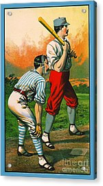 Retro Baseball Game Ad 1885 C Crop Acrylic Print by Padre Art