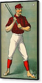 Retro Baseball Game Ad 1885 Crop Acrylic Print by Padre Art