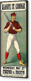 Retro Baseball Game Ad 1885 Acrylic Print by Padre Art