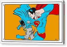 Retro Batman V Superman Acrylic Print