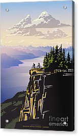 Acrylic Print featuring the digital art Retro Beautiful Bc Travel Poster by Sassan Filsoof