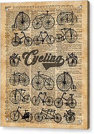 Retro Bicycles Vintage Illustration Dictionary Art Acrylic Print by Jacob Kuch