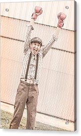 Retro Boxing Champion Celebrating A Win Acrylic Print by Jorgo Photography - Wall Art Gallery