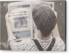 Retro Business Man Reading Bygone News Acrylic Print