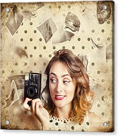 Retro Camera Girl With Instant Idea Acrylic Print