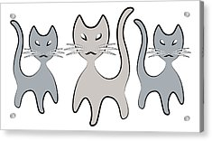 Retro Cat Graphic In Grays Acrylic Print