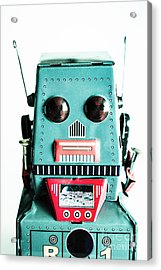 Retro Eighties Blue Robot Acrylic Print by Jorgo Photography - Wall Art Gallery