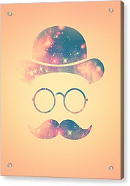 Retro Face With Moustache And Glasses  Universe  Galaxy Hipster In Gold Acrylic Print by Philipp Rietz