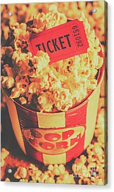 Retro Film Stub And Movie Popcorn Acrylic Print by Jorgo Photography - Wall Art Gallery