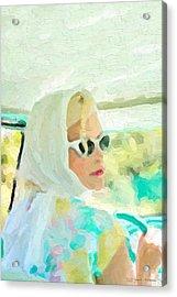 Acrylic Print featuring the digital art Retro Girl - Road Trip No.1 by Serge Averbukh