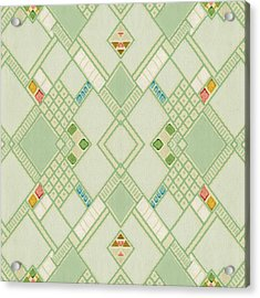 Acrylic Print featuring the digital art Retro Green Diamond Tile Vintage Wallpaper Pattern by Tracie Kaska