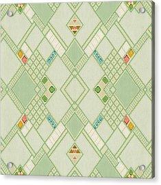 Acrylic Print featuring the digital art Retro Green Diamond Tile Vintage Wallpaper Pattern by Tracie Kaska