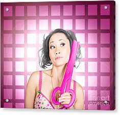 Retro Hairdresser Holding Big Pair Of Scissors Acrylic Print by Jorgo Photography - Wall Art Gallery