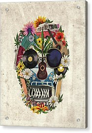 Retro Hippie Skull Acrylic Print