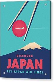 Retro Japan Mt Fuji Tourism - A Acrylic Print