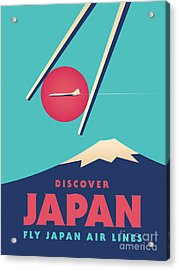 Retro Japan Mt Fuji Tourism - Cyan Acrylic Print