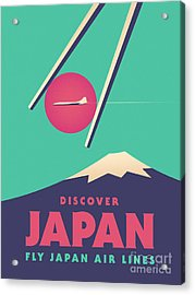 Retro Japan Mt Fuji Tourism - Green Acrylic Print