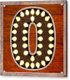 Retro Marquee Lighted Letter O Acrylic Print by Mark Tisdale