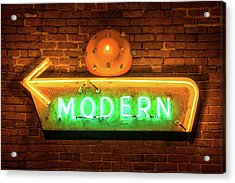 Vintage Neon Arrow Sign On Brick Wall  Acrylic Print by Gregory Ballos