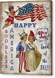 Acrylic Print featuring the digital art Retro Patriotic-c by Jean Plout